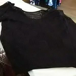 Black lace Armani Exchange top with cami